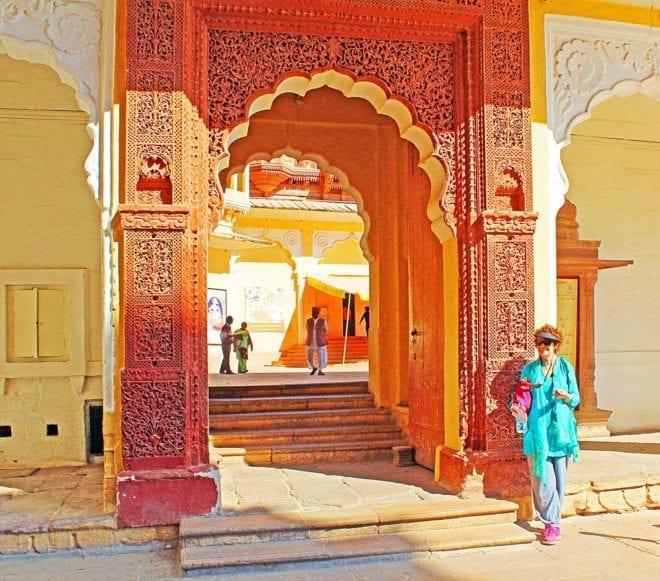 IMG_3412 v Dinah at a gateway in Mehrangarh Fort, Jodhpur FB