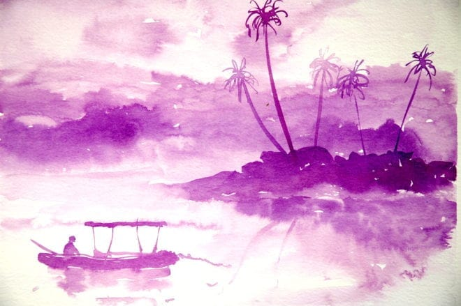 boatman, South Goa. Painting - inks by NB