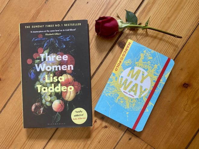 "a copy of ""Three Women"" by Lisa Taddeo plus a Marco Polo journal"